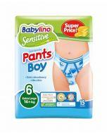 ΠΑΝΑ ΒΡΑΚΑΚΙ BOY PANTS BABYLINO SENSITIVE No 6 (16+kg), 15ΤΕΜ.