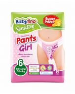ΠΑΝΑ ΒΡΑΚΑΚΙ GIRL PANTS BABYLINO SENSITIVE No 6 (16+ kg), 15TEM.