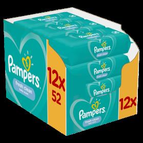 ΜΩΡΟΜΑΝΤΗΛΑ PAMPERS WIPES FRESH CLEAN 12X52 E-BOX