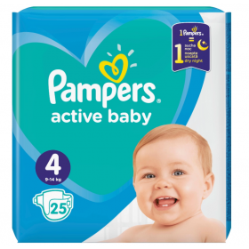 ΠΑΝΕΣ PAMPERS ACTIVE BABY ΜΕΓ 4 (9-14 ΚΓ) 25 ΠΑΝΕΣ CP