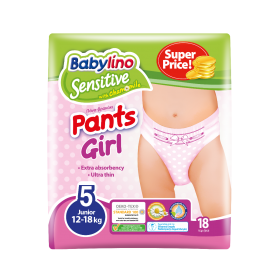 ΠΑΝΑ ΒΡΑΚΑΚΙ GIRL PANTS BABYLINO SENSITIVE No 5 (12-18 kg), 18TEM.