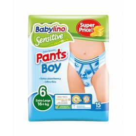 ΠΑΝΑ ΒΡΑΚΑΚΙ BOY PANTS BABYLINO SENSITIVE No 6 (16+kg), 15ΤΕΜ.