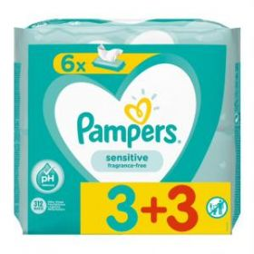 ΜΩΡΟΜΑΝΤΗΛΑ PAMPERS WIPES SENSITIVE 6x52 (3+3)