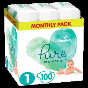 Πάνες Pampers Pure Protection Νο1 (2-5kg) Monthly Pack 100τμχ