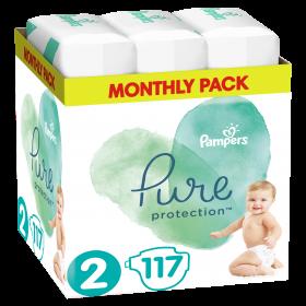 Πάνες Pampers Pure Protection Νο2 (4-8kg) Monthly Pack 117τμχ