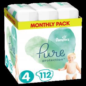 Πάνες Pampers Pure Protection Νο4 (9-14kg) Value Pack 112τμχ